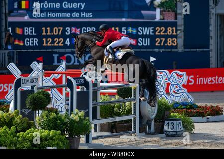 Rotterdam. Netherlands. 23 August 2019. Team Silver Medal. Marcus Ehning (GER) riding Comme Il Faut in the Team Final. Showjumping. Longines FEI European Championships. Credit Elli Birch/SIP photo agency/Alamy live news. - Stock Photo
