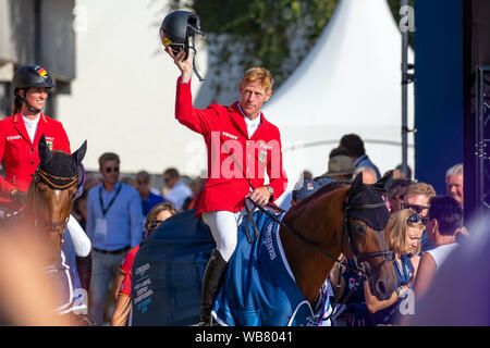 Rotterdam. Netherlands. 23 August 2019. Team Silver Medal. Marcus Ehning (GER) riding Comme Il Faut in the Team Final. Prizegiving. Showjumping. Longines FEI European Championships. Credit Elli Birch/SIP photo agency/Alamy live news. - Stock Photo