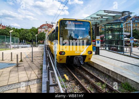 Stuttgart, Germany, August 16, 2019, Famous yellow train zacke of ssb, a rack railway connecting inner city marienplatz with degerloch in stuttgart ci - Stock Photo