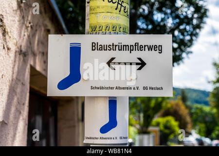 Stuttgart, Germany, August 16, 2019, Small signpost of popular city hike of stuttgart called blaustruempflerweg starting at marienplatz leading throug - Stock Photo