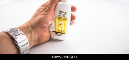 Alloa, Scotland - 13 August 2019: Dandruff Nizoral shampoo - Stock Photo