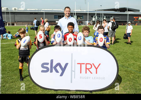 London, UK. 24th Aug, 2019. RFL Legend Adrian Morley celebrates the 150,000 participants in the Sky Try RL festival during the EFL Sky Bet Championship match between Millwall and Sheffield Wednesday at The Den, London, England on 17 August 2019. Photo by Ken Sparks. Editorial use only, license required for commercial use. No use in betting, games or a single club/league/player publications. Credit: UK Sports Pics Ltd/Alamy Live News - Stock Photo