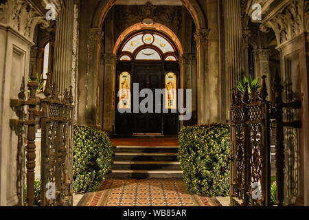 Back Lit Stained Glass Entrance to Old Victorian Period Home in Melbourne Victoria, Australia - Stock Photo