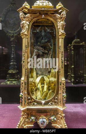 A relic containing a human hand in the Reliquaries Room in the Munich Residenz, Munich, Bavaria, Germany. - Stock Photo
