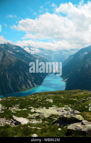 Hike to Olperer Hut, Zillertal, Austria - Stock Photo