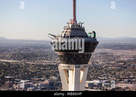 Aerial view of the top of the Stratosphere Resort Tower on March 13, 2017 in Las Vegas, Nevada, USA. - Stock Photo