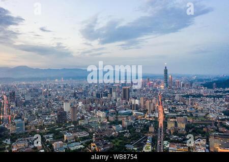 Taipei, Taiwan, 20 July 2019: Skyline of taipei city in downtown Taipei. Taipei101 building during sunset twilight, the highest buiding in Taiwan - Stock Photo