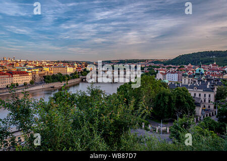Scenic view over Prague bridges and Vltava River from Letna Hill at dusk. Beautiful view of Prague's Old Town. Prague, Czech Republic Stock Photo