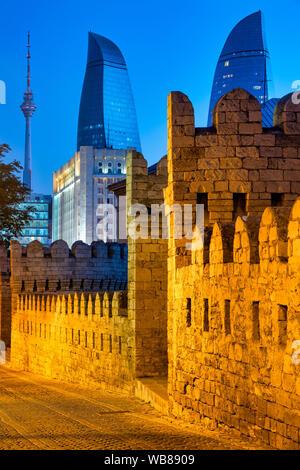 Walls of Icheri Sheher, Baku, Azerbaijan - Stock Photo