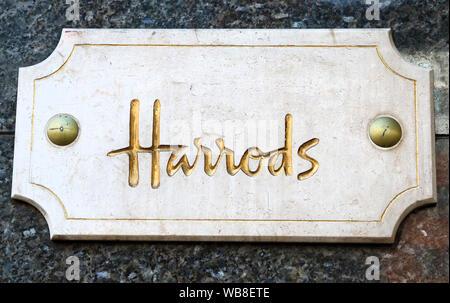 London, UK. 24th Aug, 2019. Harrods logo seen at Knightsbridge in London. Credit: Keith Mayhew/SOPA Images/ZUMA Wire/Alamy Live News - Stock Photo