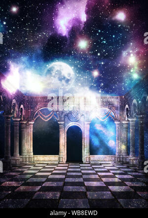 Mysterious ancient hall with starry galaxy texture and full moon, 3d rendered illustration. Elements for this image is furnished by NASA - Stock Photo