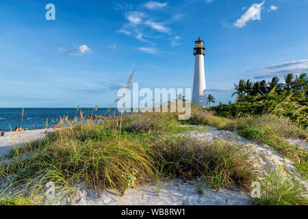 Cape Florida Lighthouse in sand dunes, Key Biscayne, Miami, Florida - Stock Photo