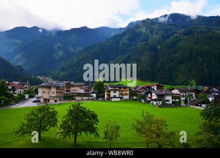 Mayrhofen, a popular tourist destination in Zillertal, Tyrol, Austria in summer - Stock Photo