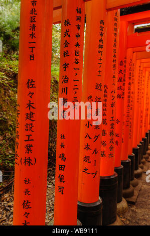 Endless vermilion corridor of Torii with japanese characters in famous Fushimi Inaria-Taisha in the forsts around Kyoto, Japan November 2018 - Stock Photo