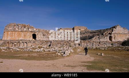 Miletus (Milet), near Ephesus. Miletus is known for its gigantic 25,000-seat Hellenistic theater - Stock Photo