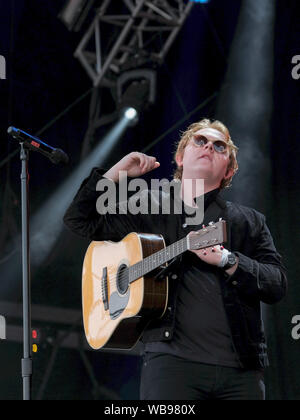 Internationally acclaimed Scottish  award winning singer-songwriter and guitarist Lewis Capaldi performs live on stage during the Victorious Festival at the seaside town of Southsea, Portsmouth. - Stock Photo