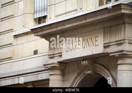 Paris, France - July 7, 2018: Close-up inscription of the Sorbonne above the entrance to the library of the University of Sorbonne in Paris - Stock Photo