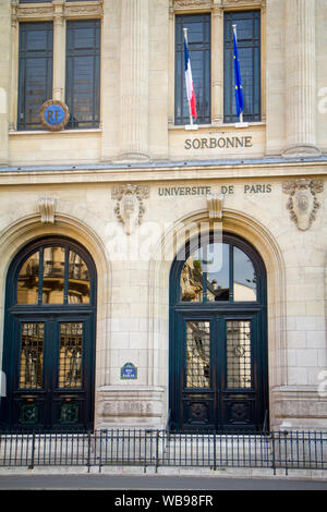 Paris, France - July 7, 2018: The main entrance to the Sorbonne University in Paris - Stock Photo
