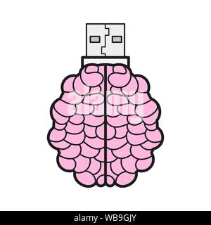 Brain Shaped Flash Drive Flat Icon, Memory Stick Vector Logo Design Template. Vector Illustration For T-shirts , Flyers , Textiles - Stock Photo