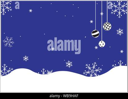 The falling snowflakes in the night winter sky, ornament from Christmas balls - Stock Photo