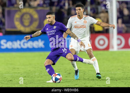 August 23, 2019, Orlando, Florida, U.S.A: Orlando City forward  DOM DWYER (14) makes a pass during the MLS game at Exploria Stadium in Orlando, Florida. (Credit Image: © Cory Knowlton/ZUMA Wire) - Stock Photo