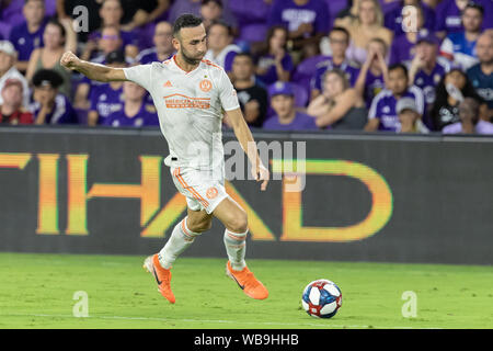 August 23, 2019, Orlando, Florida, U.S.A: Atlanta United midfielder JUSTIN MERAM (14) in action against Orlando City during the MLS game at Exploria Stadium in Orlando, Florida. (Credit Image: © Cory Knowlton/ZUMA Wire) - Stock Photo