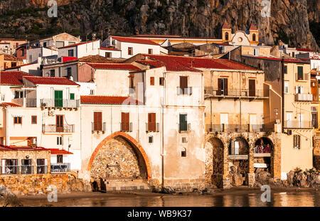 Cefalu, Sicily, Italy: Ligurian Sea and medieval city Cefalu. - Stock Photo