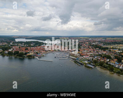 Aerial view on the town of Waren at Lake Mueritz - Stock Photo