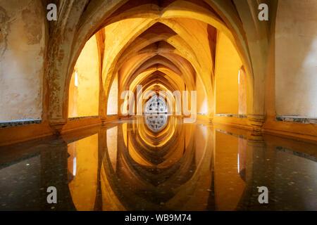 Baths of Dona Maria Padilla in the Royal Alcazar, Seville, Spain - Stock Photo