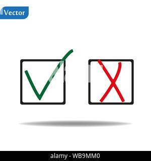 Symbol tick and cross. Isolated red and green checkmark painted with a brush. Grunge. eps10 - Stock Photo