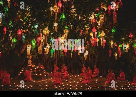 Lanterns festival, Yee Peng and Loy Khratong in Chiang Mai, Thailand - Stock Photo