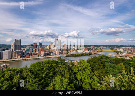 The Pittsburgh Skyline from the Grandview Overlook - Stock Photo
