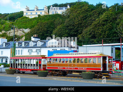 Tramcar unit of the Manx Electric Railway at the Douglas terminus. The line connects Douglas, Laxey and Ramsey on the Isle of Man. - Stock Photo