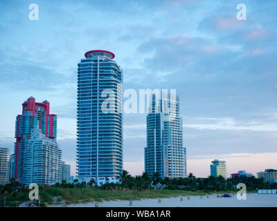 View of apartment condos in South Pointe Park, Miami Beach. - Stock Photo