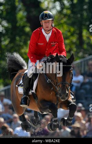Marcus Ehning GER with Comme Il Faut during the Longines FEI Jumping European Championship 2019 on August 25 2019 in Rotterdam, Netherlands. Credit: Sander Chamid/SCS/AFLO/Alamy Live News - Stock Photo