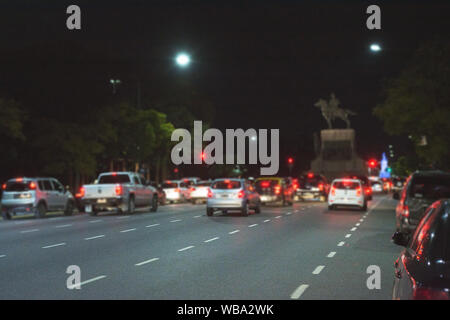 Rush hour in Libertador Avenue, Buenos Aires, Argentina at Dusk Stock Photo