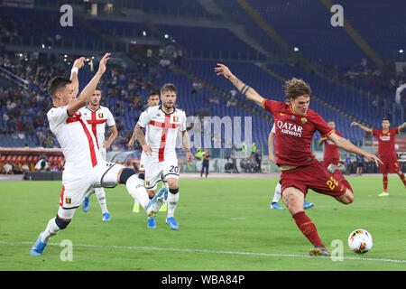 Rome, Italy. 25th Aug, 2019. Nicolò Zaniolo of AS Roma in action during the Serie A match between AS Roma and Genoa at Olimpico Stadium.(Final score: AS Roma 3:3 Genoa) Credit: SOPA Images Limited/Alamy Live News - Stock Photo
