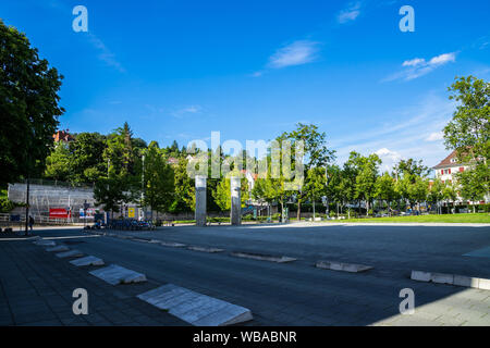 Stuttgart, Germany, August 16, 2019, Beautiful square called suedheimer platz, the starting point of cable cars of funicular railway in stuttgart - Stock Photo