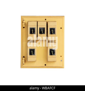 Old Electrical switchboard  on white backround. - Stock Photo