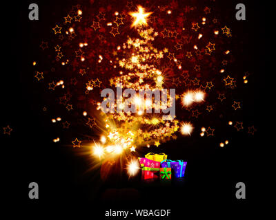 Illustration of magic glowing Christmas tree made of stars background. - Stock Photo