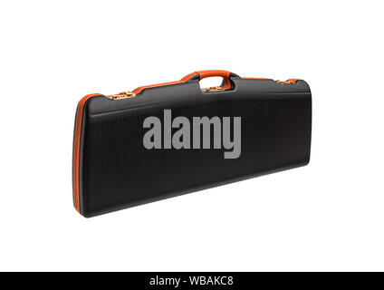 A modern luxury case for weapons with a combination lock. black plastic case for gun isolated on white back - Stock Photo