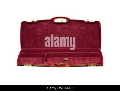 Open modern luxury case for weapons with a combination lock. Case for weapons with red velvet inside. Gun case isolate on a white background. - Stock Photo