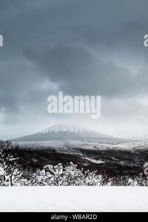 Scenery of Mount Hakkoda in winter covered with white snow in Aomori prefecture, Tohoku region, Japan - Stock Photo