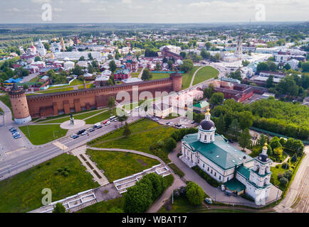 Aerial panoramic view of modern cityscape of Kolomna overlooking medieval Kremlin, Russia - Stock Photo
