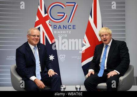 Prime Minister Boris Johnson (right) meets Australian Prime Minister Scott Morrison for bilateral talks during the G7 summit in Biarritz, France.