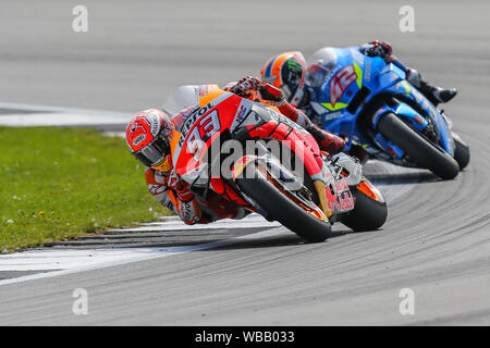 Silverstone, UK. 25th June, 2019. MotoGP rider Marc Marquez (Repsol Honda Team) during the 2019 GoPro British Grand Prix (MotoGP) at Silverstone Circuit, Towcester, England on 25 August 2019. Photo by David Horn Credit: PRiME Media Images/Alamy Live News - Stock Photo