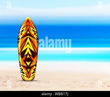 Board for the surfer on the beach, against the background of the sea or ocean. Vector illustration in a tropical style. Hawaiian design. - Stock Photo