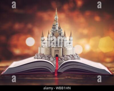 Open story book with fairy tale castle. 3d illustration. - Stock Photo