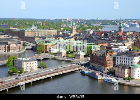 Stockholm, Sweden. View of famous Gamla Stan (the Old Town) on the right, Stadsholmen island. - Stock Photo
