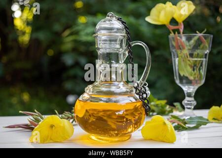 Evening primrose oil in a beautiful bottle with fresh flowers. - Stock Photo